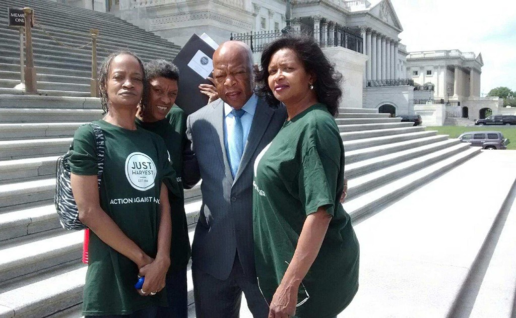 Three Just Harvest clients with Rep. John Lewis on a June 2015 lobbying trip to protect SNAP/food stamp funding