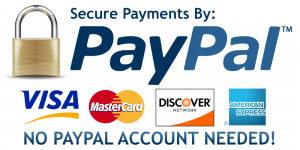 Secure Payments By Paypal, Visa, Mastercard, Discover = no PayPal account needed