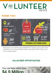 Just Harvest volunteer e-newsletter