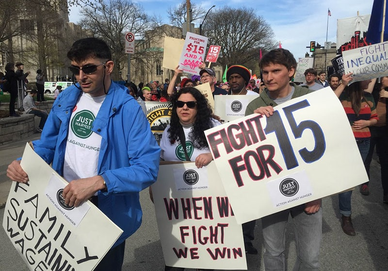 Just Harvest staff and members at the April 15, 2015 Fight for $15 rally in Pittsburgh