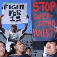 Los Angeles fast food protesters, photo by UPI/Jim Ruymen