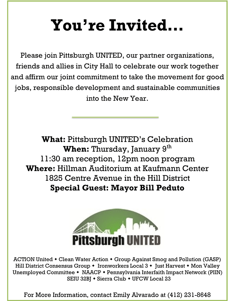 Pittsburgh UNITED, Mayor & Council celebration invitation