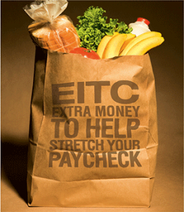 EITC extra money to help stretch your paycheck on a grocery bag