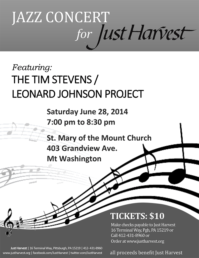 Hot Jazz for Just Harvest flier