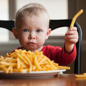toddler and french fries