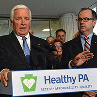 Gov. Corbett announces that he will seek federal Medicaid, Sep. 2013