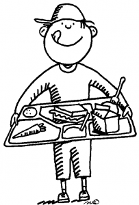 kid w lunch tray drawing