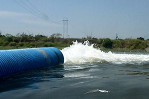 sewer pipe dumping into rivers
