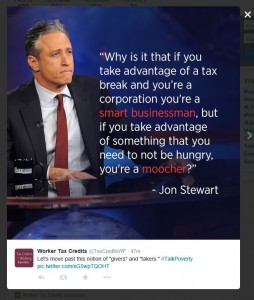 Jon Stewart quote on the disparity of views on tax breaks for the rich vs. the poor