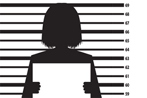 woman with criminal record illustration