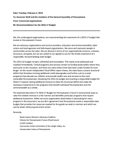 Memo to Gov. Wolf and the General Assembly: Recommendations for the 2016-17 Pennsylvania Budget