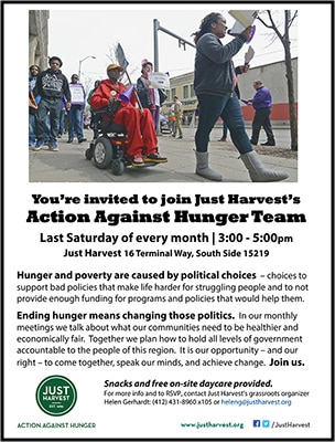 Just Harvest's Action Against Hunger Team flyer
