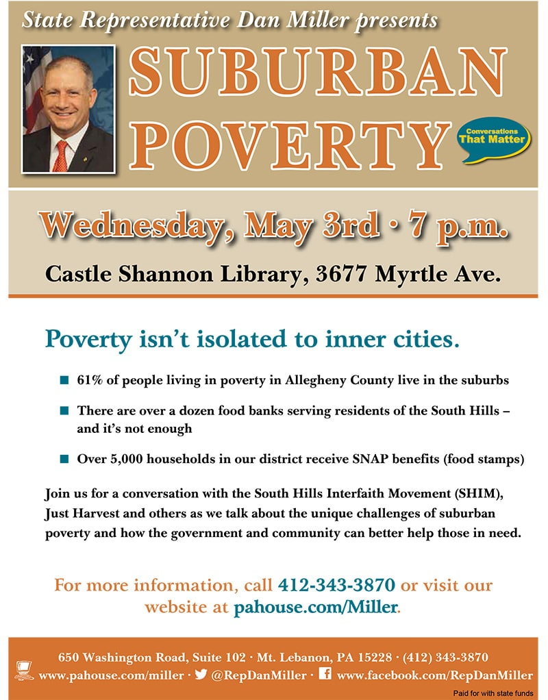 May 3 Suburban Poverty community discussion with Rep. Dan Miller