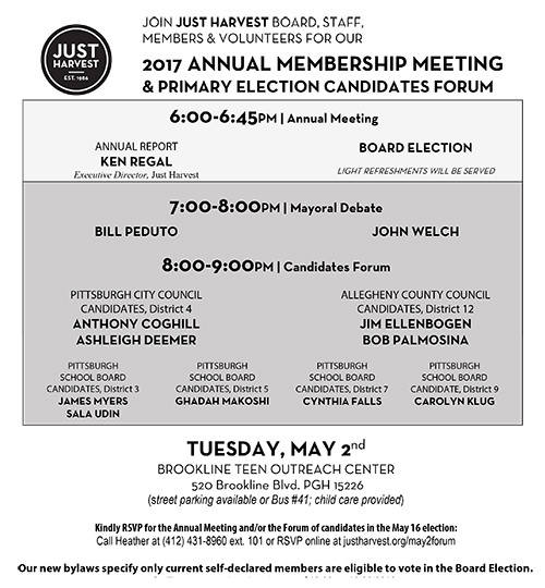 Details about Just Harvest's May 2 Annual Member Meeting and Primary Election Candidates Forum