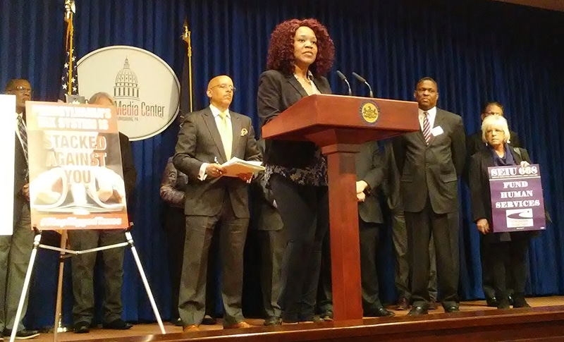 Rochelle Jackson at Mar. 22 Fair Share Tax Plan press conference in Harrisburg