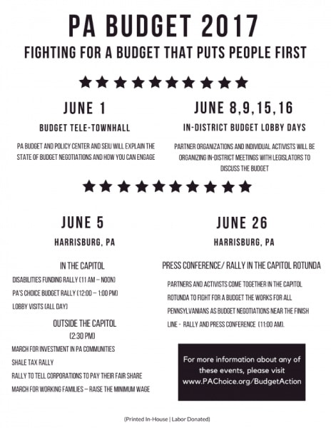PA Budget 2017: Fighting for a Budget that Puts People First -- key dates in June for action