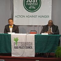 James Myers Jr. and Sala Udin, Candidates for Pittsburgh Public Schools Dist. 3 Board of Directors at our May 2 Candidates Forum on Hunger and Poverty