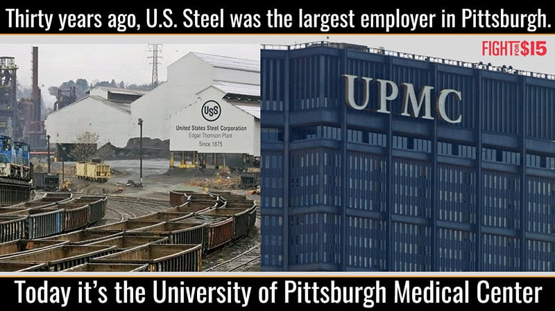 30 years ago, U.S. Steel was the largest employer in Pittsburgh. Today it's the University of Pittsburgh Medical Center