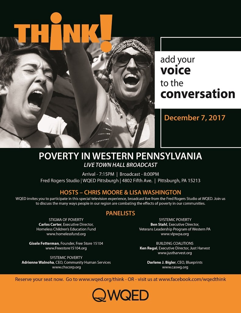 Flyer for the Think! Poverty in Western Pa. Town Hall live broadcast on WQED, Dec. 7, 2017