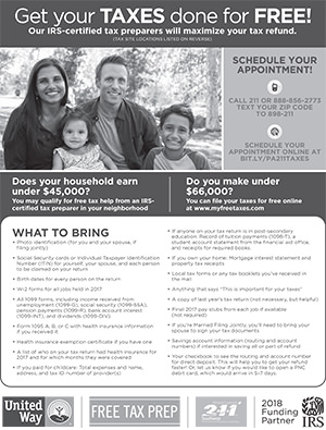 Get Your Taxes Done for Free! flyer with tax program info