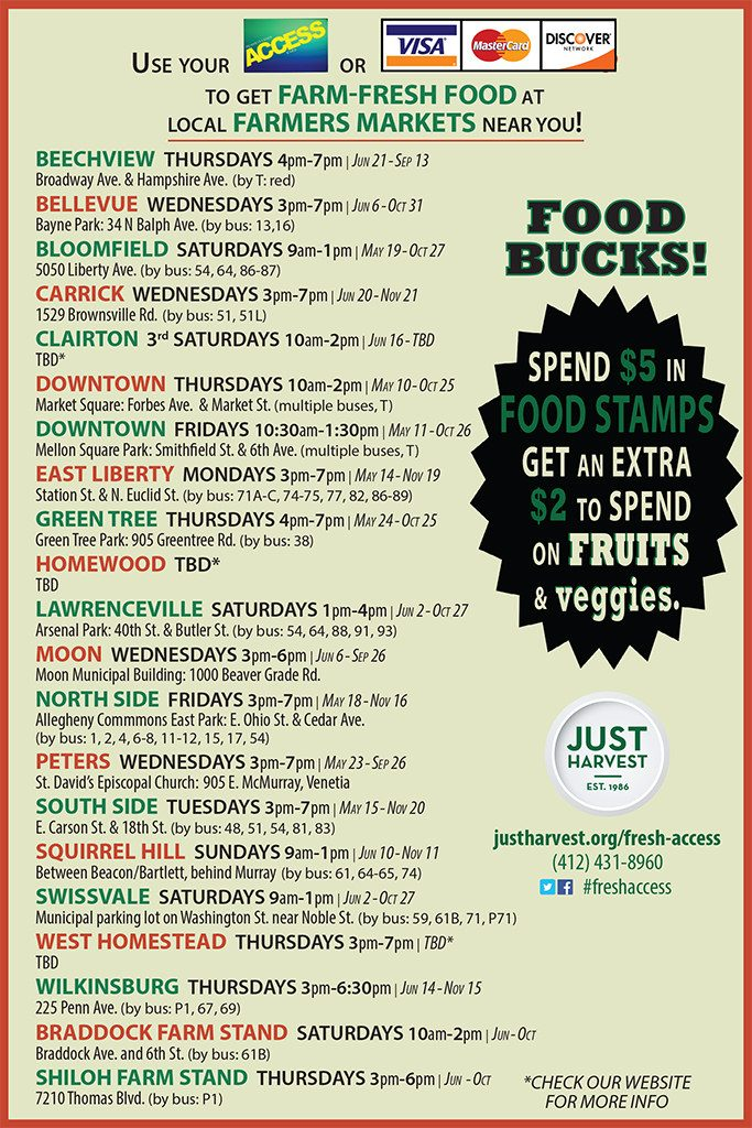 Local Pittsburgh farmers markets where you can use your food stamps and get food bucks