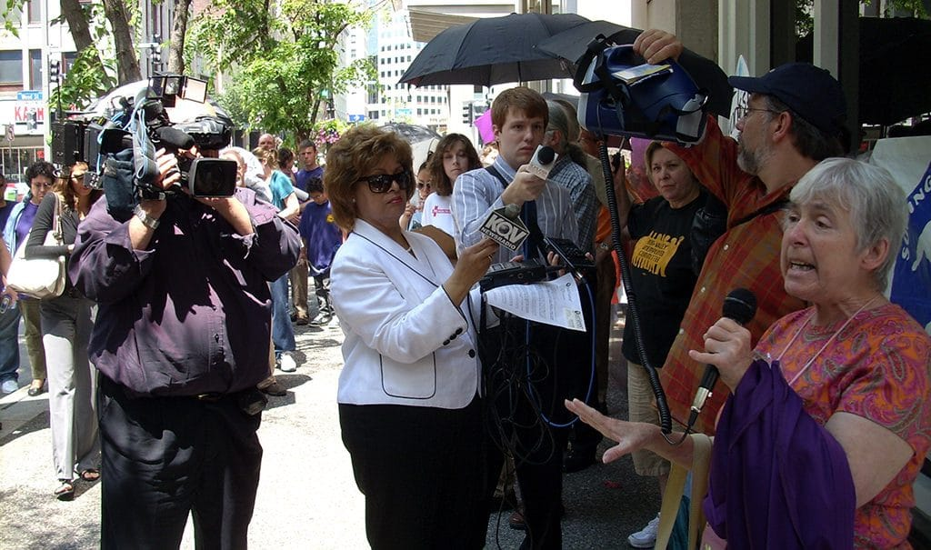 Mary Elizabeth McCarthy at a rally to Save Our Services, 2011