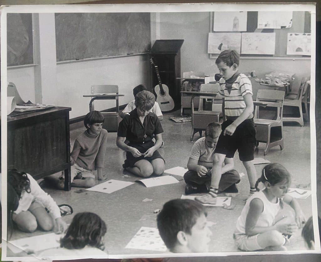 Theresa teaching Summer Bible school at St Francis de Sales Church, 1965