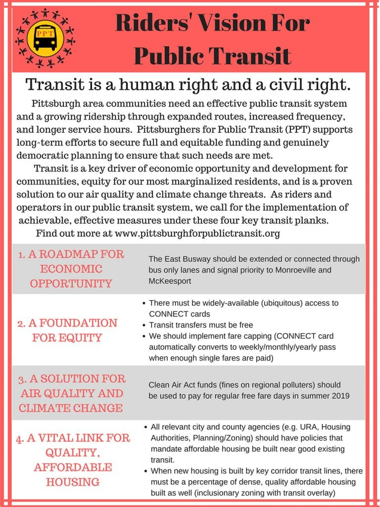 Transit is a human right and a civil right. Pittsburghers for Public Transit's 4-part Riders' Vision for Public Transit in Allegheny County