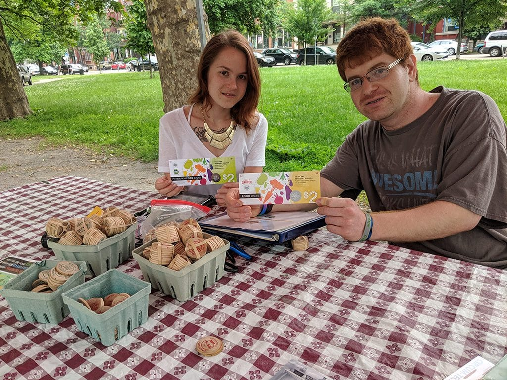Amanda and Mark with Fresh Access Food Bucks at the North Side Farmers Market