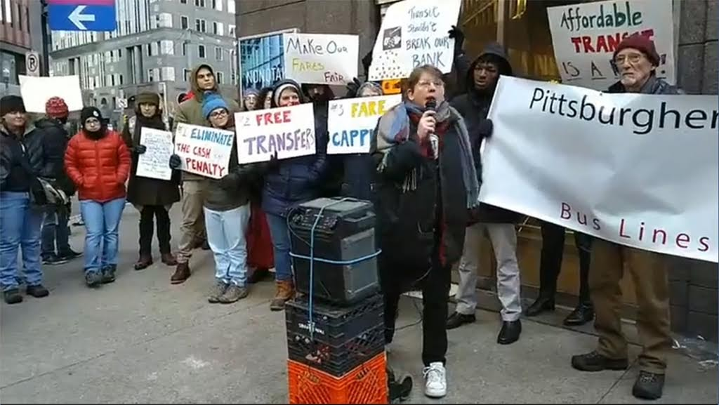 Just Harvest's Helen Gerhardt speaking at the Dec. 7 2018 Rally for Fare Equity with Pittsburghers for Public Transit and Mon Valley Initiative