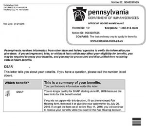 Example of food stamps termination notice to DHS clients