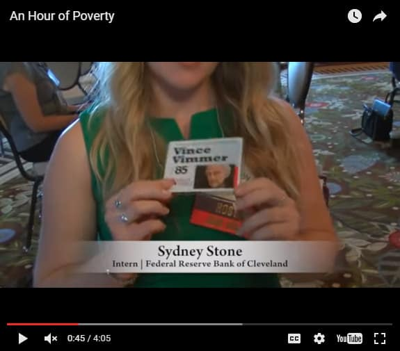 Federal Reserve Bank of Cleveland intern Sydney Stone talks about the struggles of her character in a recent Just Harvest poverty simulation.