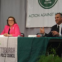 City Council District 4 candidates Ashleigh Deemer and Anthony Coghill at our May 2 Candidates Forum on Hunger and Poverty