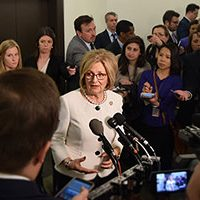 House Budget Chairwoman Rep. Diane Black (R-TN) talks with reporters after releasing committee's 2017-18 budget resolution, Jul. 18, 2017