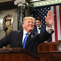 Pres. Trump at his Jan. 30, 2018 State of the Union address (via Voice of America)