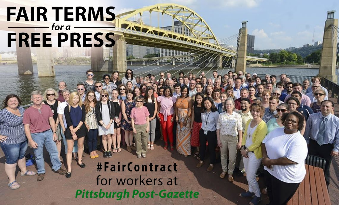 Fair Terms for a Free Press #FairContract for workers at Pittsburgh Post-Gazette (photo of Post-Gazette staff by Nate Guidry)