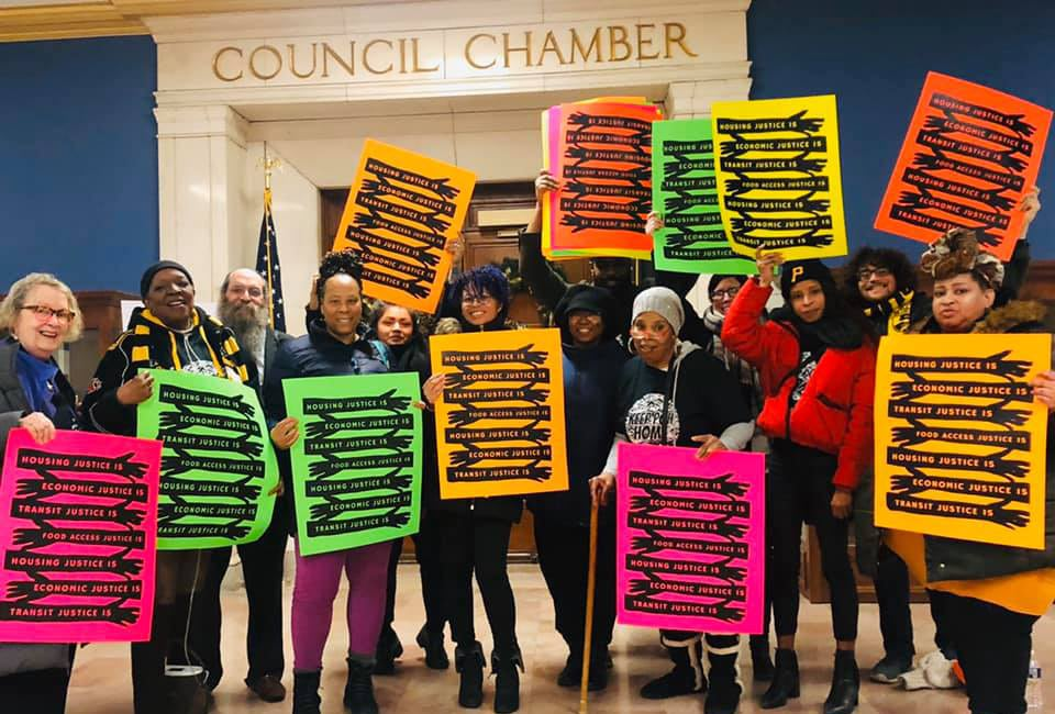 Allies speaking out for housing, food, and transit justice at the Dec. 17 Pgh City Council hearing aboutGiant Eagle's East Liberty development proposal (photo via Pittsburgh UNITED)