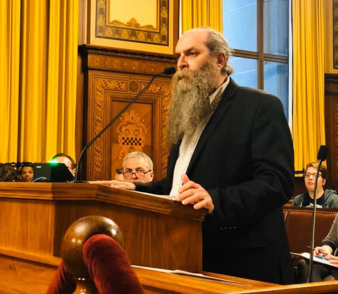 Just Harvest Executive Director Ken Regal gives testimony at the Dec. 17 Pittsburgh City Council hearing regarding a proposed development at Giant Eagle in East Liberty