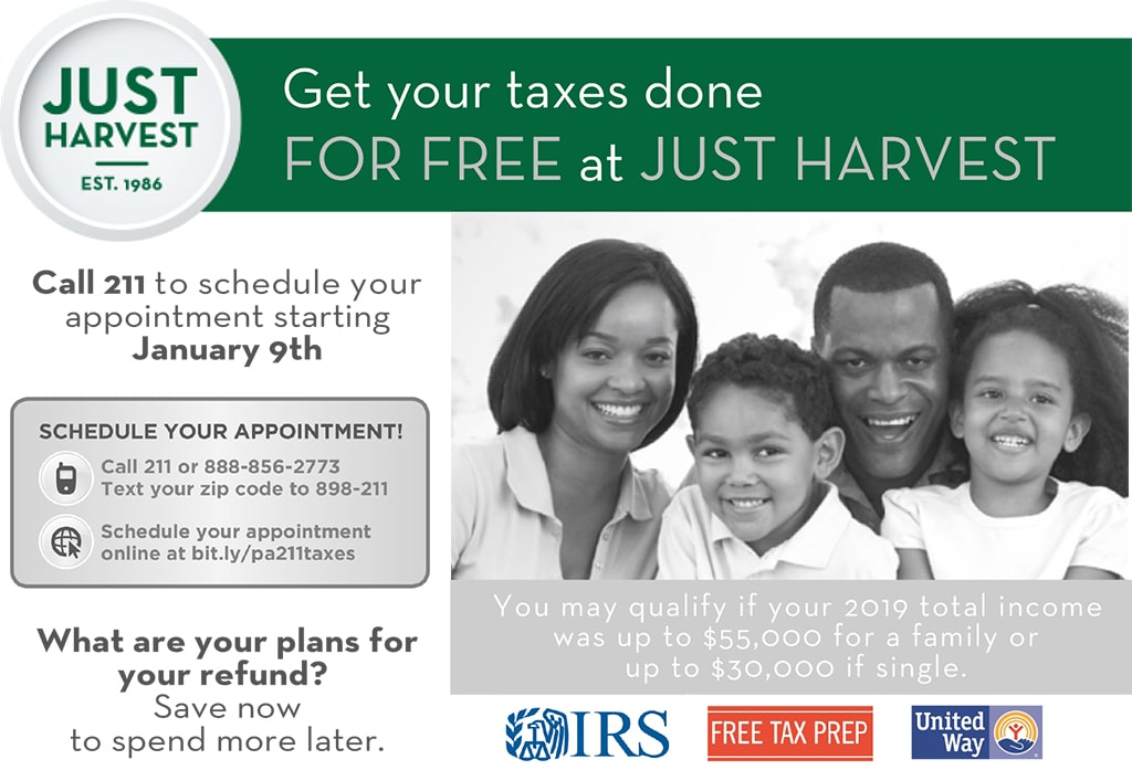 Get your taxes done for free at Just Harvest