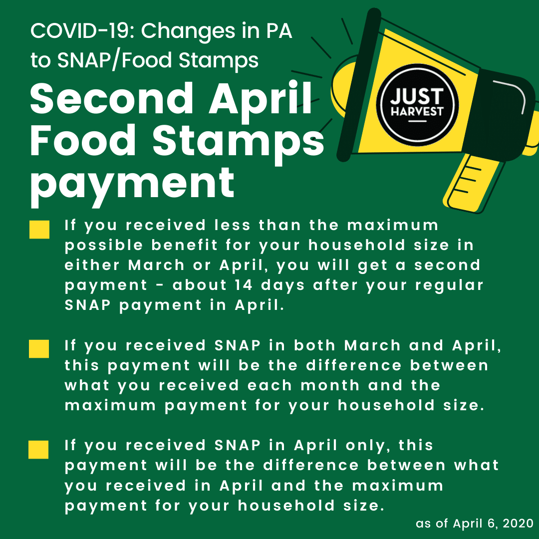COVID-19: Changes in PA to SNAP/Food Stamps -- Second April Food Stamps payment