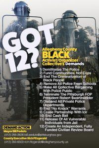 Got 12? Allegheny County Black Activist/Organizer Collective Demands