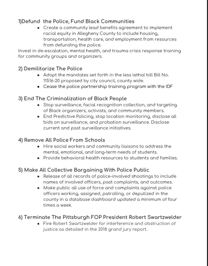 12 demands on police brutality and oppression for the City of Pittsburgh and Allegheny County by the Allegheny County Black Activist/Organizer Collective