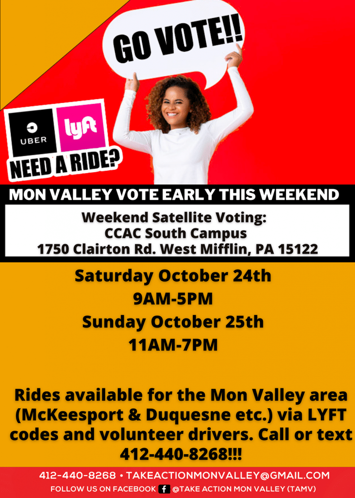 Mon Valley's Early Voting This Weekend ride info